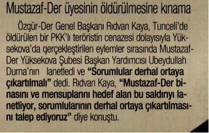 Mustazaf-Der Üyesinin Öldürülmesine Kınama