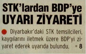 STKlardan BDPye Uyarı Ziyareti