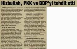Hizbullah, PKK Ve BDPyi Tehdit Etti
