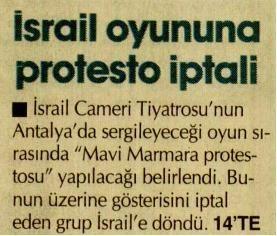 İsrail Oyununa Protesto İptali