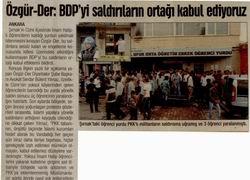 Özgür-Der: BDP'yi Saldırıların Ortağı Kabul Ediyoruz