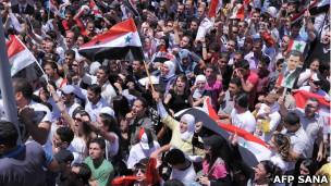 Suriyede Esad Yandaşları Gösteri Düzenledi