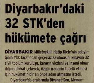 Diyarbakırdaki 32 Stkden Hükümete Çağrı