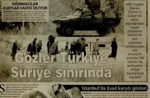 Gözler Türkiye Suriye Sınırında