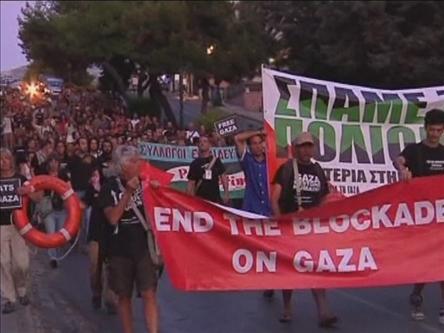 Yunanistan'da Özgürlük Filosu Protestosu