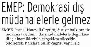EMEP: Demokrasi Dış Müdahalelerle Gelmez