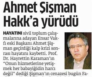 Ahmet Şişman Hakka Yürüdü