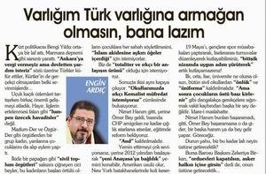 Varlığım Türk Varlığına Armağan Olmasın