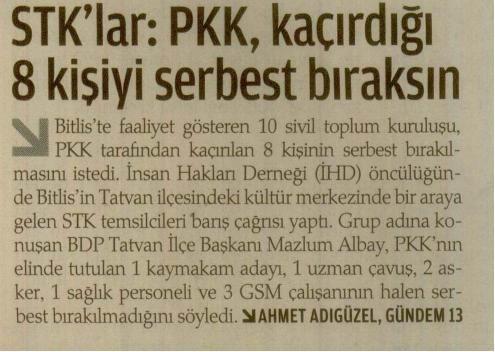 STKlar : PKK Kaçırdığı 8 Kişiyi Serbest Bıraksın