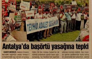 Antalyada Başörtü Yasağına Tepki