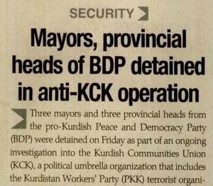 Mayors, Provincial Heads Of BDP Detained in Anti-KCK Operation