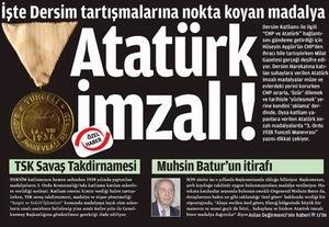 Atatürk İmzalı Dersim Katliamı Madalyaları