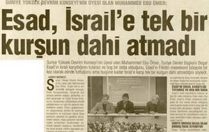 Esad İsrail'e Tek Bir Kurşun Dahi Atmadı