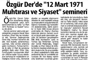 12 Mart 1971 Muhtırası ve Siyaset Semineri