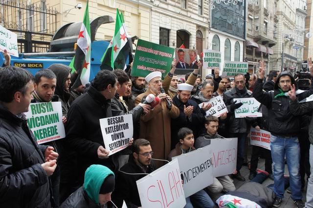 Baas Destekçisi Rusyaya Taksimde Protesto
