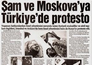 Şam ve Moskovaya Türkiyede Protesto