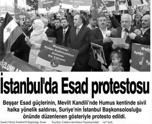 İstanbulda Esad Protestosu