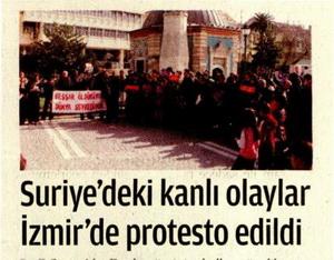 Suriye'deki Kanlı Olaylar İzmir'de Protesto Edildi