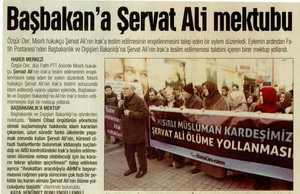 Başbakana Şervat Ali Mektubu