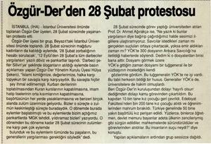 Özgür-Derden 28 Şubat Protestosu