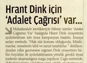 Hrant Dink İçin Adalet Çağrısı Var