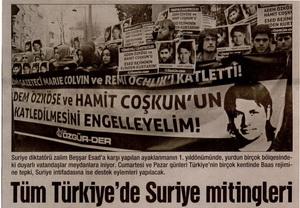 Tüm Türkiyede Suriye Mitingleri