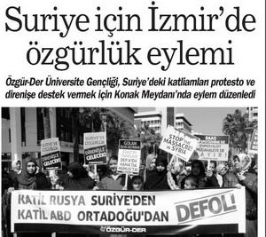 Suriye İçin İzmirde Özgürlük Eylemi