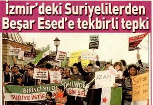 İzmirdeki Suriyelilerden Beşar Esede Tekbirli Tepki