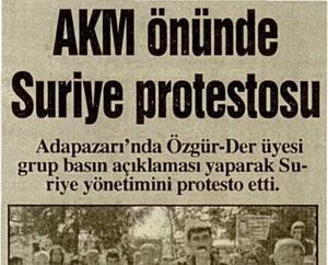 AKM Önünde Suriye Protestosu