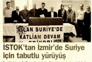Istoktan İzmirde Suriye İçin Tabutlu Yürüyüş