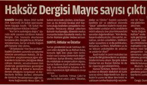Haksöz Dergisi Mayıs Sayısı Çıktı