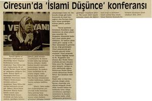 Giresunda İslami Düşünce Konferansı