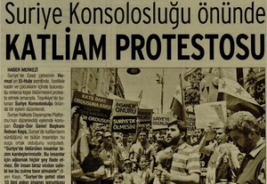 Suriye Konsolosluğu Önünde Katliam Protestosu