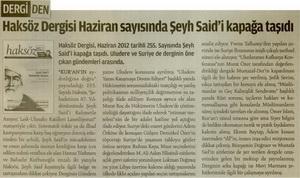 Haksöz Dergisi Haziran Sayısında Şeyh Saidi Kapağa Taşıdı