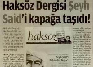 Haksöz Dergisi Şeyh Saidi Kapağa Taşıdı