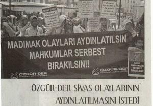 Özgür-Der Sivas Olaylarının Aydınlatılmasını İstedi