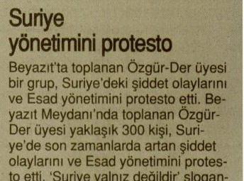 Suriye Yönetimini Protesto