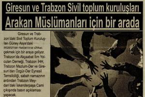 Giresun Ve Trabzon'da Arakan'a Destek