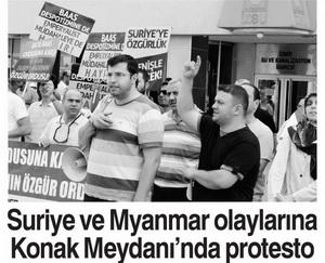 Suriye Ve Myanmar Olaylarına Konak Meydanında Protesto