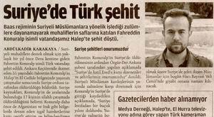 Suriyede Türk Şehit