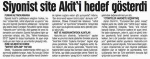Siyonist Site Akiti Hedef Gösterdi