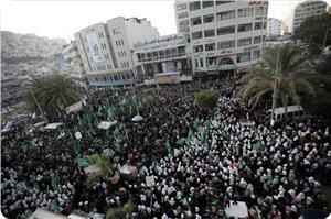 Batı Yaka'da On Binlerden Hamas Kutlaması