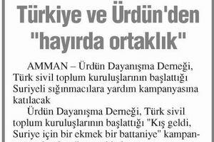 Türkiye ve Ürdünden Hayırda Ortaklık