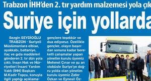 Trabzondan 2. Tır Suriye İçin Yolarda
