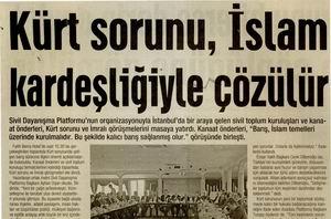 Kürt Sorunu, İslam Kardeşliğiyle Çözülür