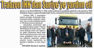 Trabzon İHH'dan Suriyeye Yardım Eli