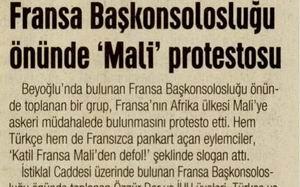 Fransa Başkonsolosluğu Önünde Mali Protestosu