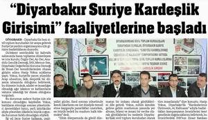 Diyarbakır Suriye Kardeşlik Girişimi Faaliyetlerine Başladı