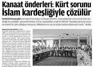 Kanaat Önderleri: Kürt Sorunu İslam Kardeşliğiyle Çözülür