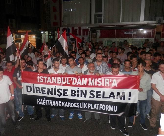 Kağıthane'de Mısır Halkıyla Dayanışma Yürüyüşü